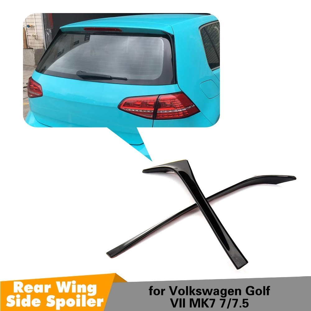 2PCS ABS Gloss Black Auto Car styling Rear Roof Wing Lip Side Spoiler for Volkswagen Golf 7 MK7 7.5 2014 2018 Non GTI R