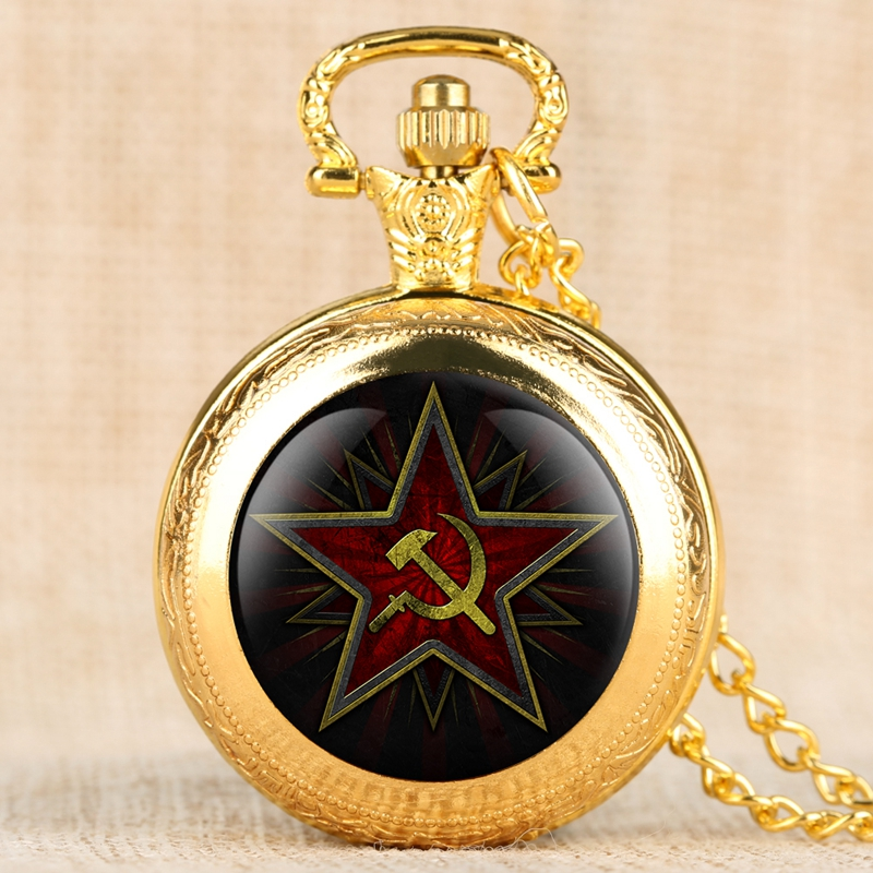 Retro Pentagram Party Emblem USSR Soviet Badges Hammer Sickle Black Quartz Pocket Watch Russian Army CCCP Communism Clock Watch