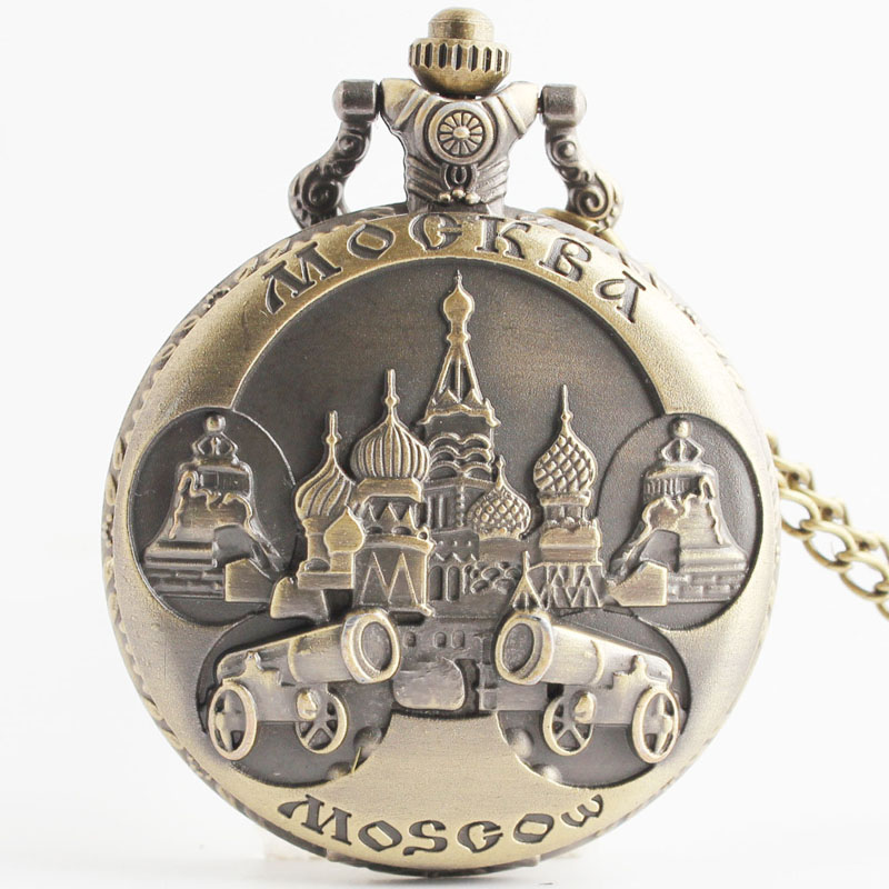 Pocket & Fob Watches  Bronze  Russian Moscow Carved Openable Steampunk  Pocket Fob Watch for Men/Women Necklace Pendant Clock