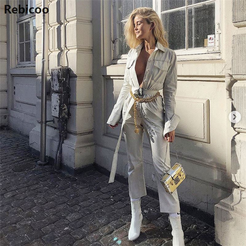 Women Denim Jumpsuit Romper Long Sleeve Belt Black White  Lady Jeans Jumpsuit Sexy Female Streetwear Overalls