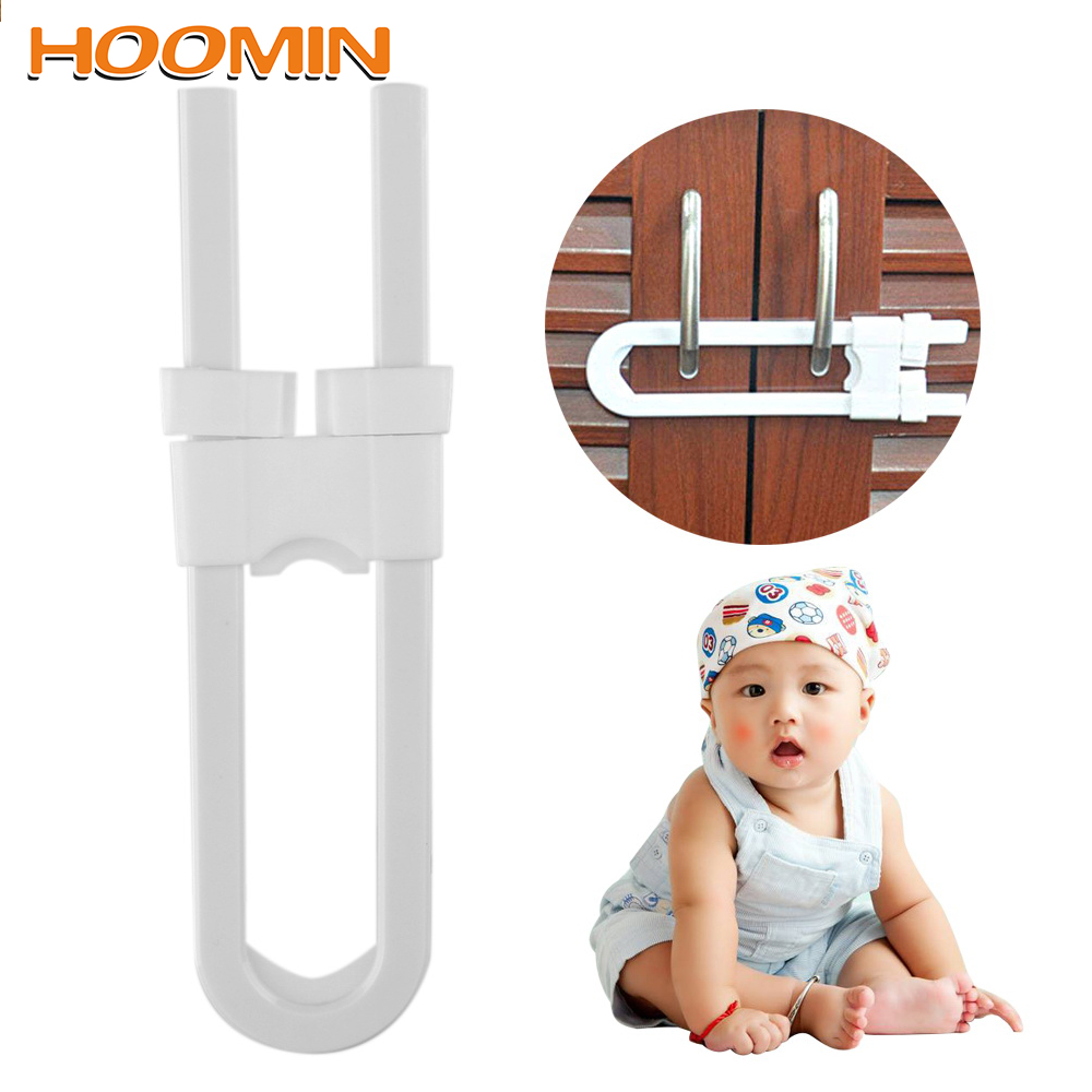 HOOMIN Door U Shape Baby Safety Lock Children Safety Lock Protection Lock Prevent Child From Opening Drawer Cabinet