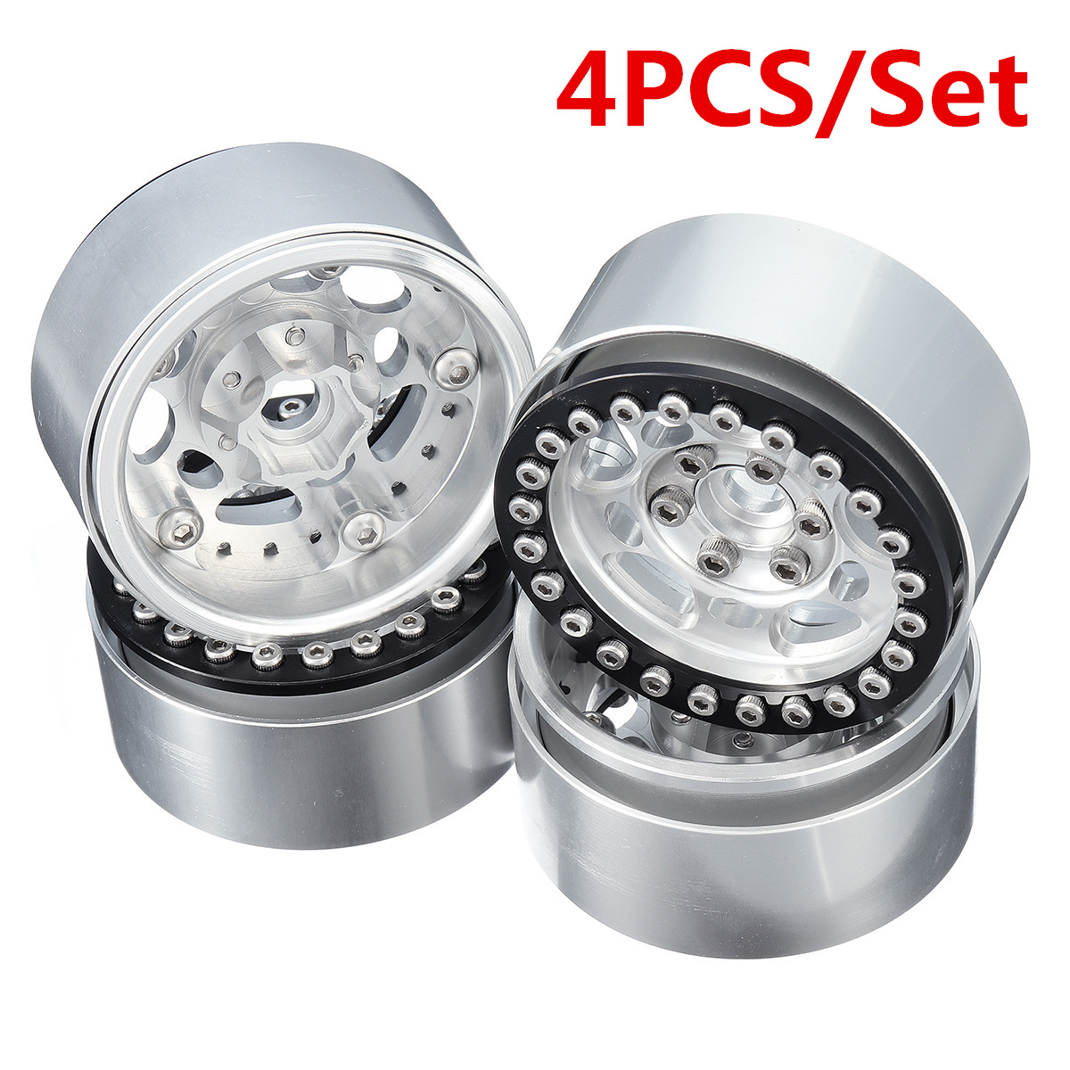 Remote Control Toys 4pc 1.9inch Aluminum Beadlock Wheel Rims For 1/10 Rc Crawler Traxxas Trx-4 #45 Car Parts Silver Fashionable Patterns