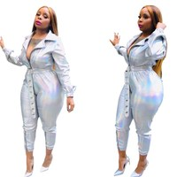 Women Jumpsuit Long Sleeve PU Jumpsuit High Waist Sashes Long Jumpsuits Bodycon Silver Sexy Bodysuit Overalls