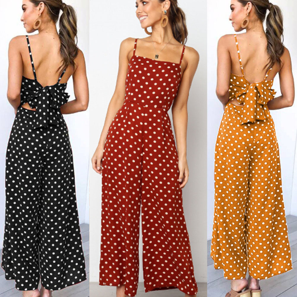 Women Summer Dot Sleeveless Backless Bowknot Jumpsuit Playsuit Party Wide Leg Long Trousers Romper