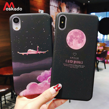 Moskado Aircraft Moon Phone Case For iphone 7 8 6 6s Plus X Starry Sky Stars Earth Space Cover XS Max XR Hard PC