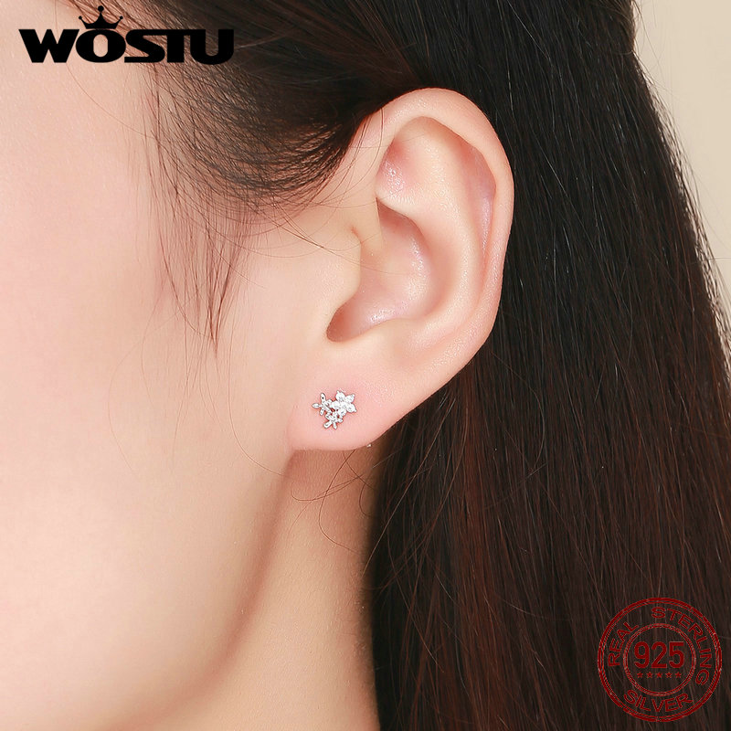 WOSTU 100% 925 Sterling Silver Gypsophila Flower Stud Earrings For Women Snowflake Earrings Fashion Silver 925 Jewelry CTE030 4