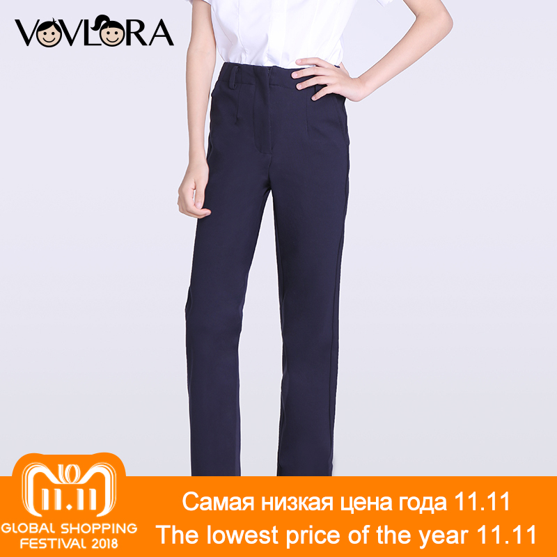 Girls pants Knitted Straight Blue Mid Zipper Fly kids school pants for girls clothes NEW 2017 size 9 10 11 12 13 14 years simple style zipper fly button embellished solid color slimming straight leg cotton blend pants for men