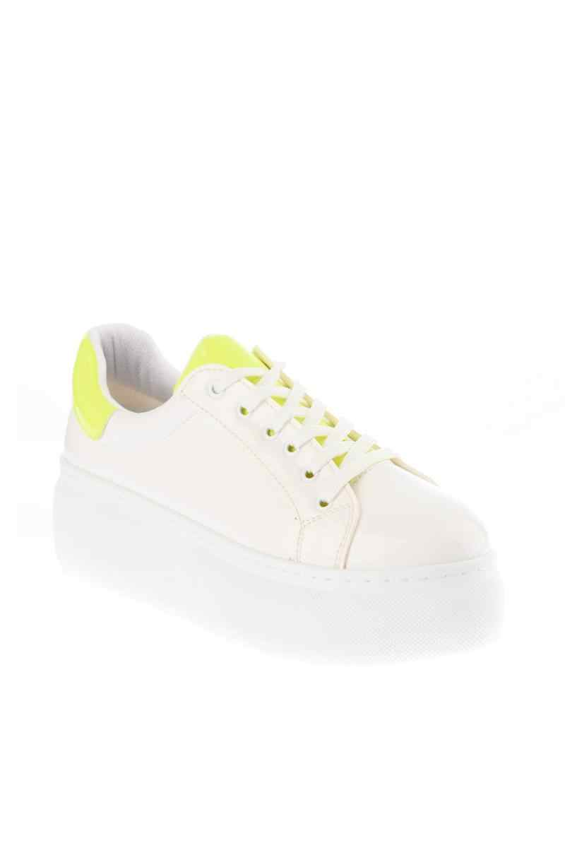 SOHO White Platform Women Casual Sports Sneaker Neon Yellow Decors White Breathble Women PU Vulcanize Shoes 12641