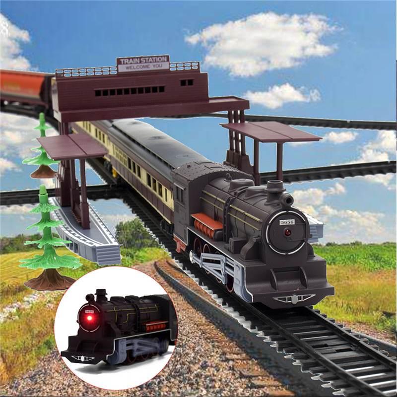 Elektrische Racing Rail Auto Kinderen Spoor Trein Model Speelgoed Baby Railway Trein Racing Road Transport Building Slot Sets Speelgoed Kids