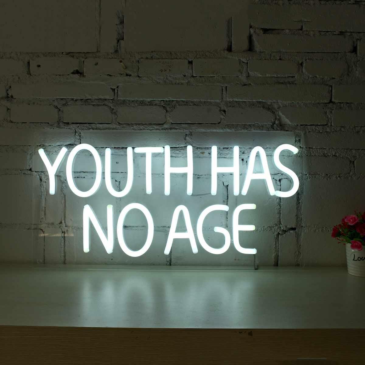 Youth Has No Age Neon Sign LED Tube Lamp Visual Artwork Bar Pub Club Wall Decor Light Board Home Office Decoration 100-240V