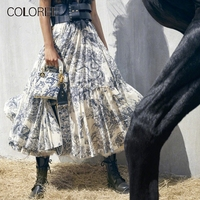 Vintage Blue Floral Printed Long Skirts Womens 2019 Spring Summer Runway Designer High Waist Maxi Skirt