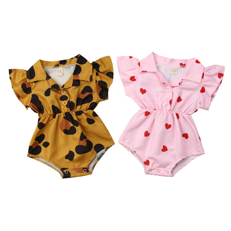 Cute Infant Baby Girl Ruffle Leopard Heart Print   Romper   Jumpsuit Outfits Sunsuit for Newborn Infant Children Clothes Kid Clothes