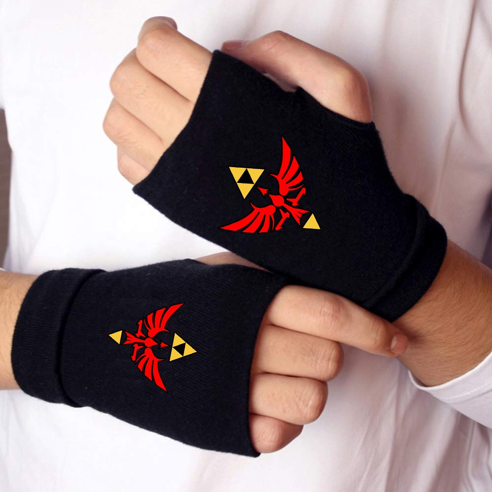 OHCOMICS Unisex The Legend of Zelda Half finger Gloves Touch Screen Knitted Gloves Winter Outdoor Men Women Gym Gloves Handwear