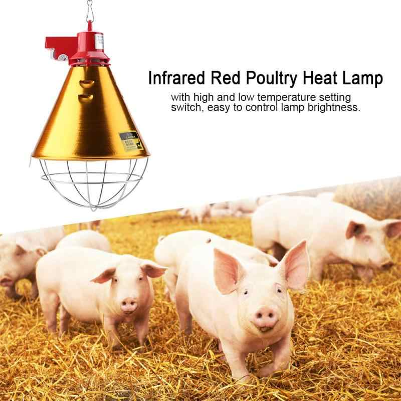 230 в ЕС Plug Инфракрасный красный тепла лампа с абажур свет для птицы кур свинья рептилия греющая лампа