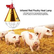 230V EU Plug Infrared Red Heat Lamp Bulb with Lampshade Light for Poultry Chickens Pig Reptile Warmer Lamp(China)