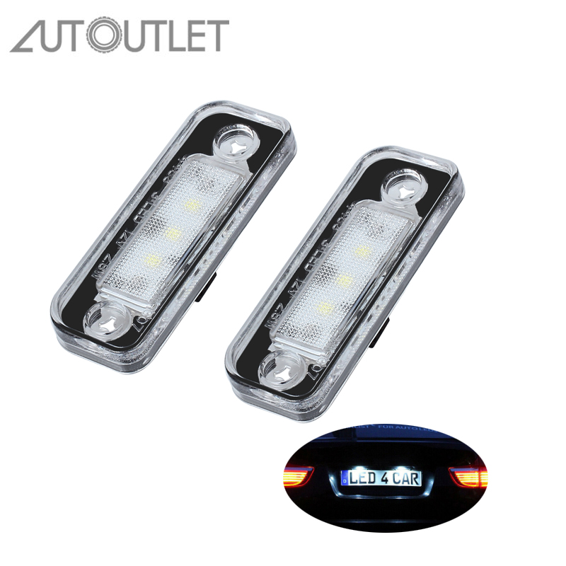 AUTOUTLET 2Pcs Car License Plate Light 3 SMD LED Light Bulbs For <font><b>Mercedes</b></font> <font><b>Benz</b></font> <font><b>SLK</b></font> R171 S203 W211 S211 / 1103 E Class W211 4D image