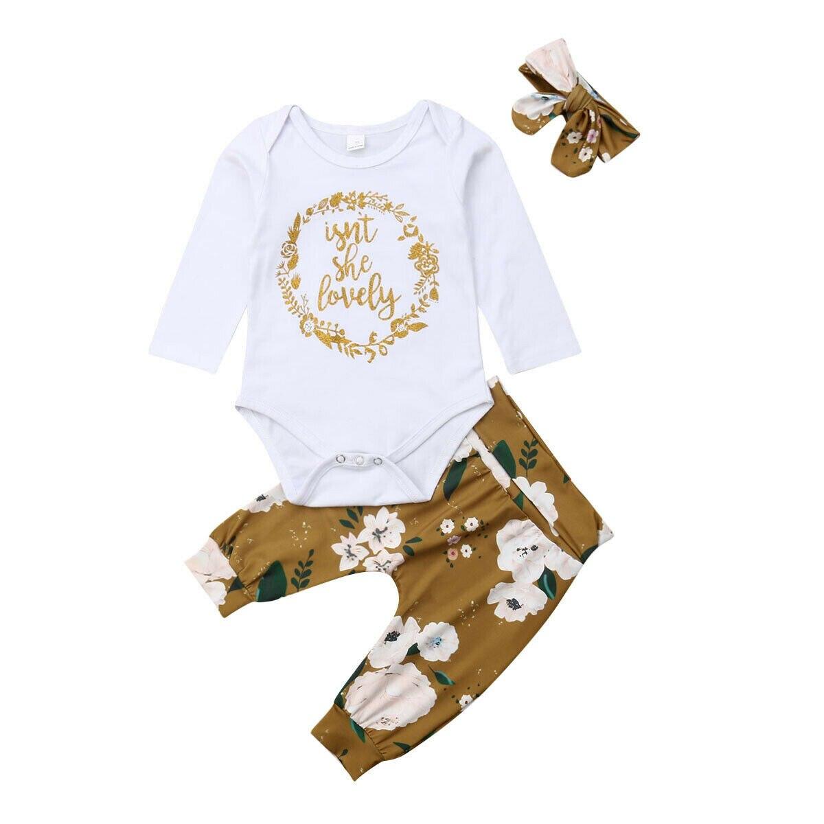 0-18 M Neugeborenes Baby Mädchen Langarm Baumwolle Strampler Tops Floral Lange Hose Hosen Stirnband 3 Pcs Outfits Baby Kleidung Set