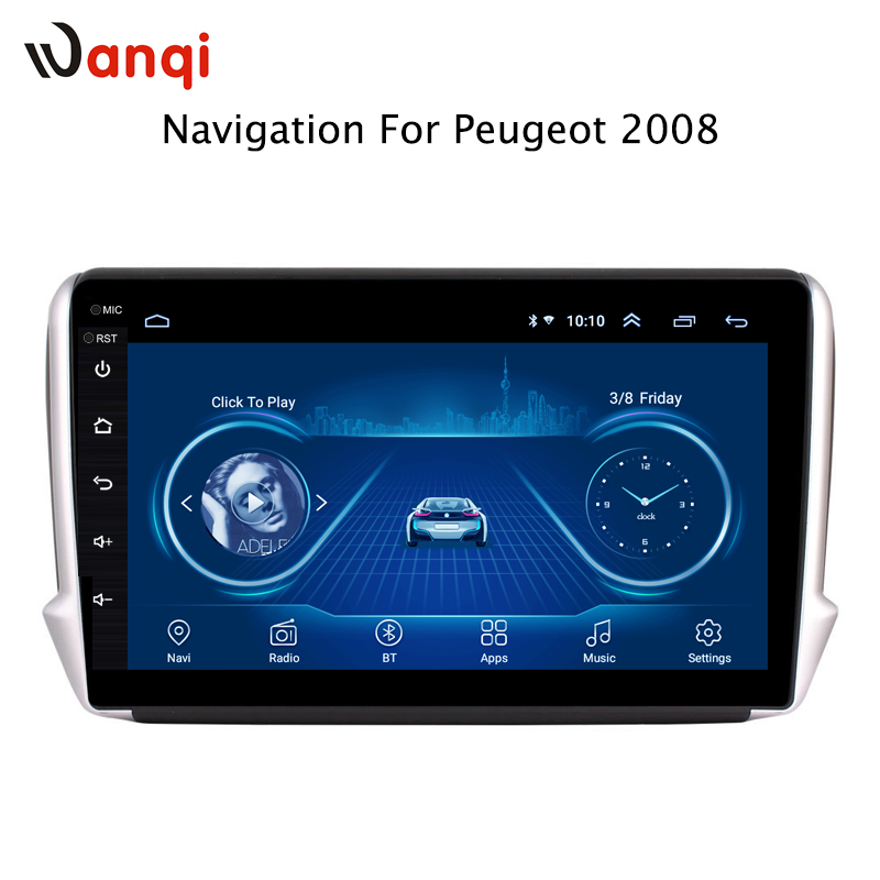 2.5D tela Android 8.1 Do GPS Do Carro Multimídia Para Peugeot 2008 CAR DVD Player 2014 2015 2016 2017 2018 com Rádio bluetooth