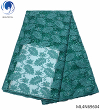 BEAUTIFICAL Green lace fabrics with sequins mesh fabric high quality tulle african material for evening dress ML4N696