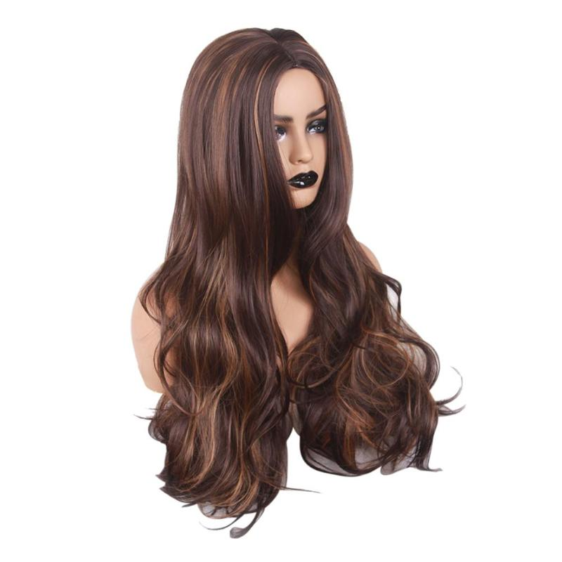 Women Long Curly Cosplay Wig Heat Resistant Fiber Natural Synthetic Hair Full Head Wigs