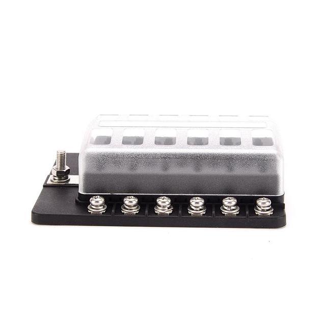 Soporte de la caja del fusible de la hoja con el indicador de advertencia del LED 12 formas de cubierta a prueba de humedad bloque de fusible para el Terminal del tornillo del coche