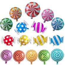 5 шт./лот 18 дюймов круглый леденец фольги надувной шар конфеты фольги баллон для Свадьбы Дети День Рождения вечерние украшения