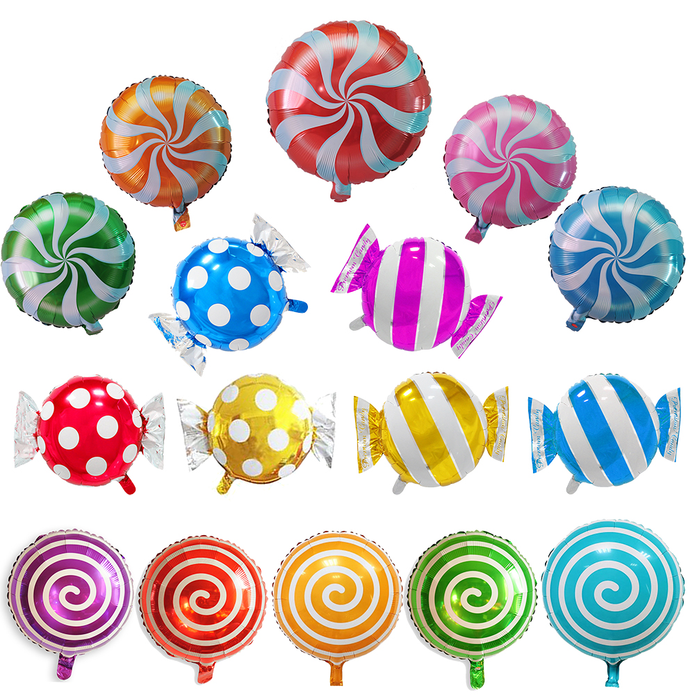 5Pcs/lot <font><b>18</b></font> inch Round Lollipop Foil Inflatable Balloon Candy Foil <font><b>Ballon</b></font> For Wedding Kids Birthday Party Decoration image