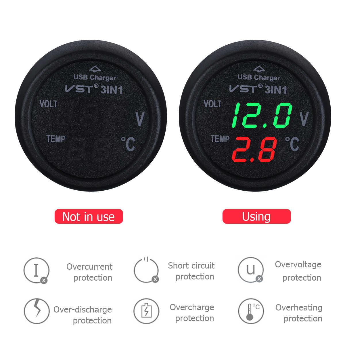 1pc 12-24V Auto Car Cigarette Lighter Socket With USB Port / Voltmeter / Thermometer For Car Truck Vehicle Car-Styling Auto