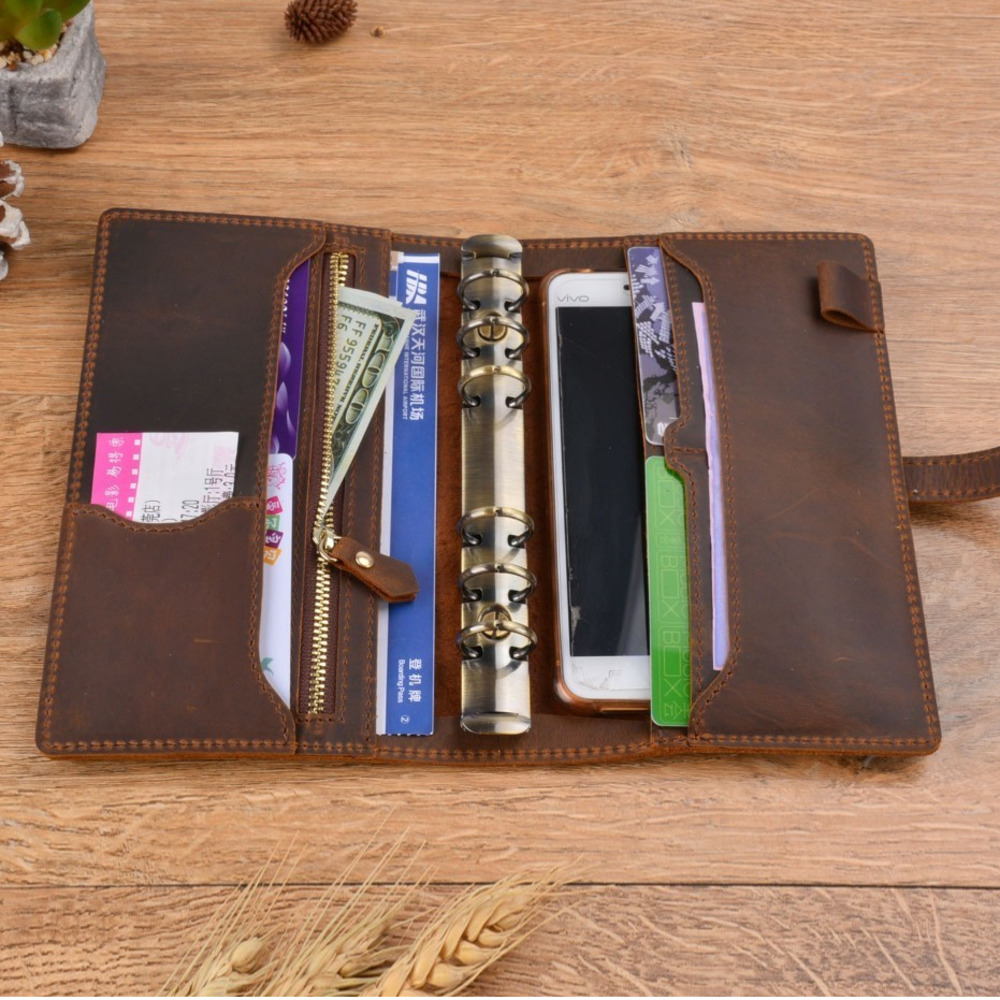 Handnote Vintage en cuir véritable carnet de notes Journal de voyage planificateur carnet de croquis Agenda bricolage recharge papier école cadeau d'anniversaire - 4