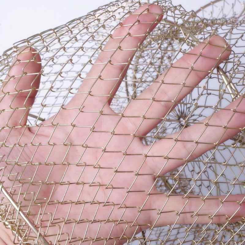Portátil dobrável de Pesca Fio de Aço Pot Crawdad Caranguejo Gaiola Gaiola Caranguejo Camarão Armadilha Net Cesta Cesta de Peixes para a Pesca ferramenta 5 tamanhos