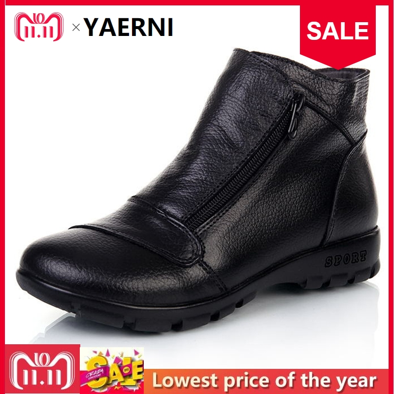 YAERNI Winter Snow Boots Women Genuine Leather Flat Ankle Boots 2017 New Women Shoes Woman Casual Warm Shoes Women Boots woman snow boots women winter shoes women s ankle boots fashion casual flat warm plush shoes female ladies 2017 new or400880