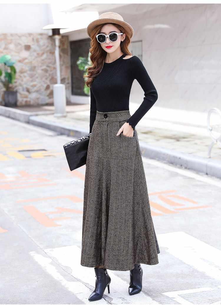 3d0109708b ... Vintage de lana caliente Maxi falda con bolsillos mujeres Otoño  Invierno elegante Oficina Falda larga falda ...