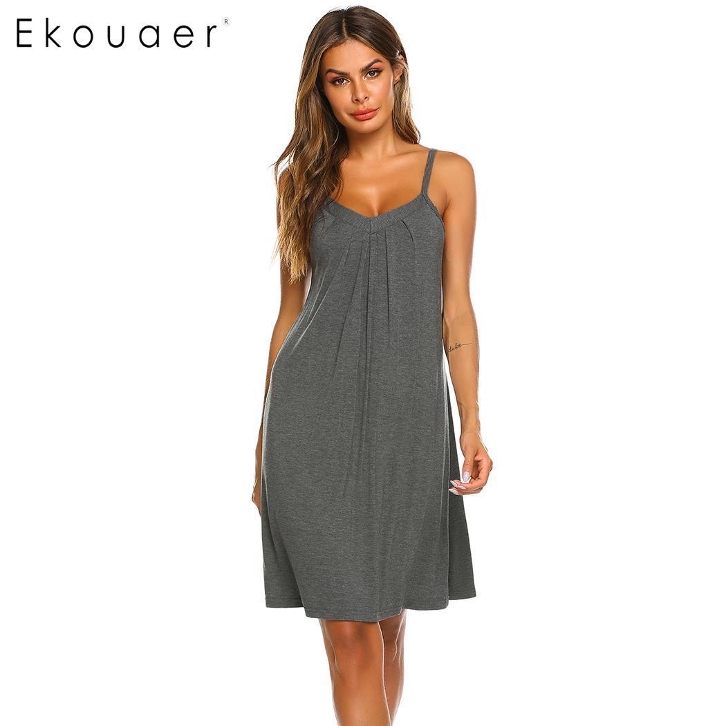 Ekouaer Summer   Nightgown   Women Lingerie   Sleepshirts   Casual V-Neck Sleeveless Adjustable Spaghetti Straps Soft Loose Nightdress