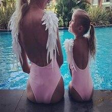 Одежда для купания для мамы и ребенка; цельный купальник; боди для родителей и детей; пляжная одежда с крыльями ангела; Монокини; купальник с открытой спиной; купальный костюм для женщин
