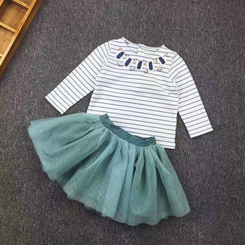 Mp Original Single New Pattern Baby Toddler Girl Children Long Sleeve T Pity Yarn Skirt Twinset