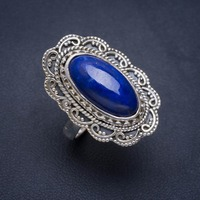 Natural Lapis Lazuli Handmade Unique 925 Sterling Silver Ring 8.25 A1001