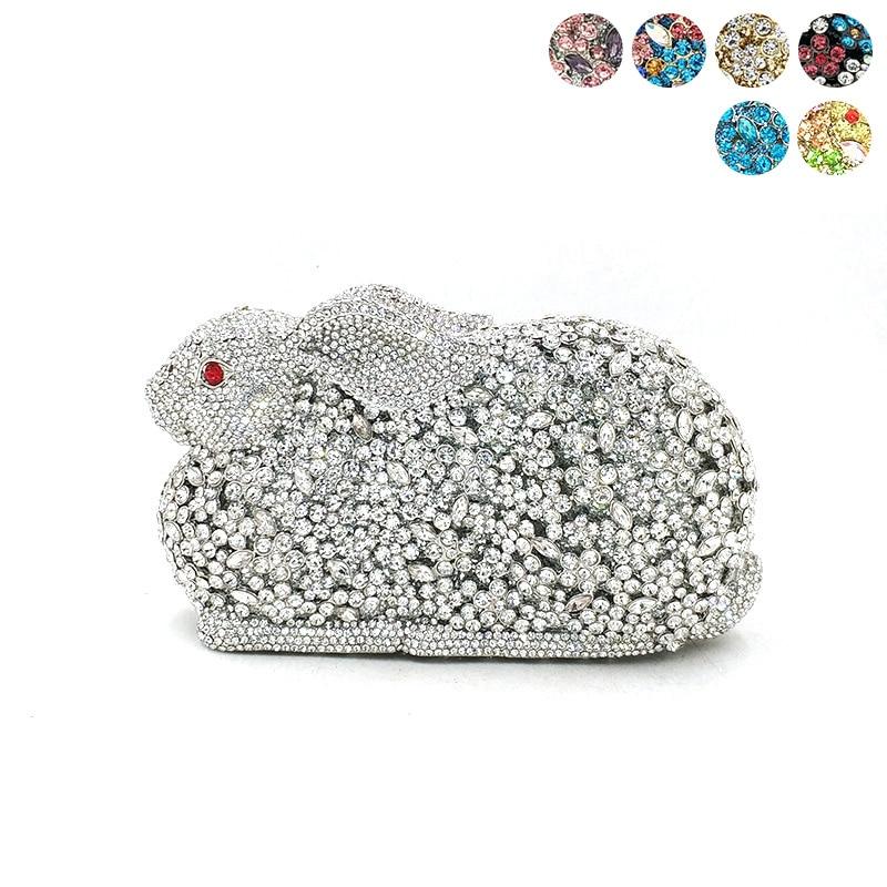 Women evening party bag diamonds luxury crystal clutch bridal wedding party bunny purse handbag elegant rabbit