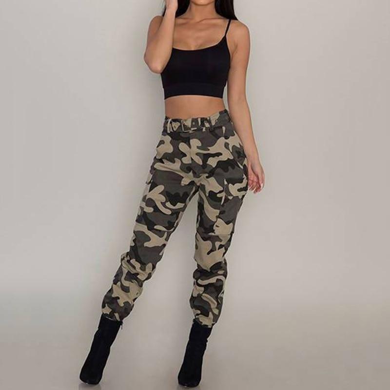 High Waist Pants Women's Camouflage Loose Joggers Women Army Harem Camo Pants Streetwear Cargo Pants Women Capris Long Trousers