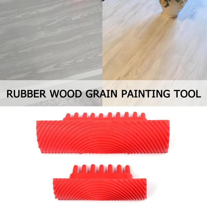 2pcs Rubber Paint Roller Wood Grain Cylinder Imitation Brush Wall Wall Texture Art DIY Painting Tool Set