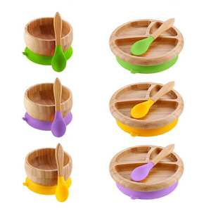 Wooden-Bowl Salad-Plate Feeding-Bowl-Plate Suction-Cup Dining-Tool Desktop-Decoration