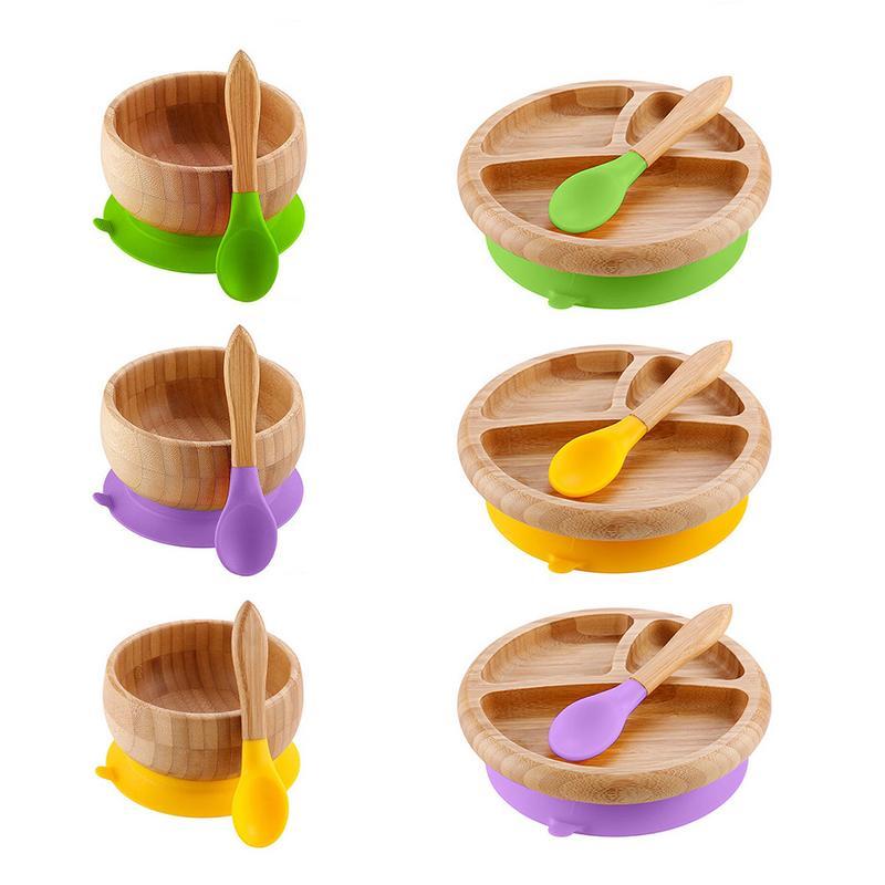 Kreative Holz Schüssel Mit Saugnapf Kind Fütterung Schüssel Platte Anti-verbrühungen Obst Salat Platte Esszimmer Werkzeug Desktop Dekoration