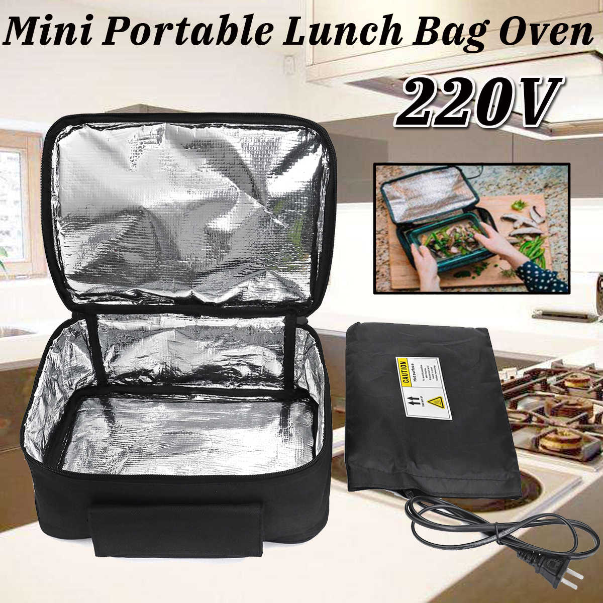 New 220V/110V Portable Mini Personal Lunch Oven Bag Instant Food Heater Warmer Electric Oven PE Alloy Heating Lunch Box Office