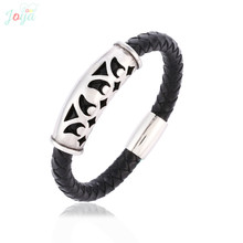 Badu Black Leather Bangle Men Silver Stainless Steel Magnetic Hollowing Vintage Punk Bracelets for Wholesale