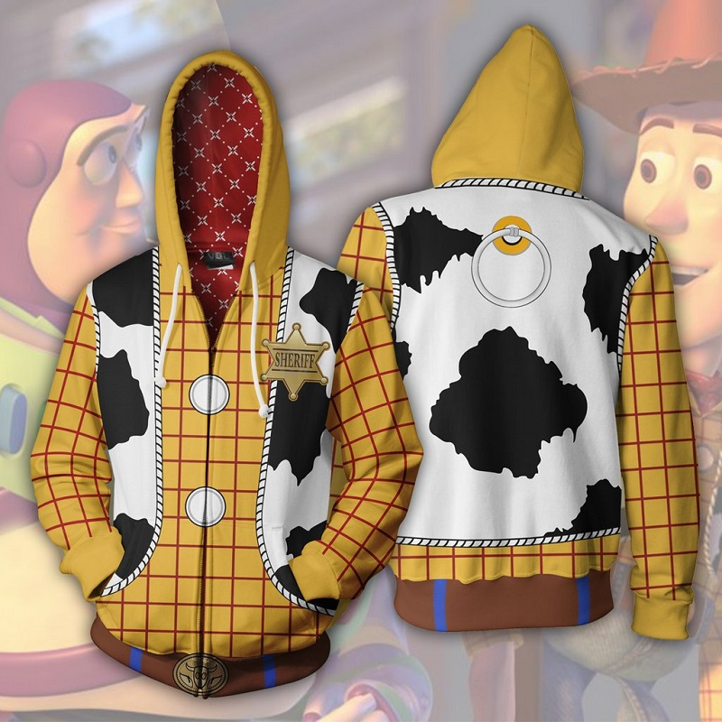 2019 New Autumn Winter 3D Print Toy Story Sheriff Woody Cosplay Zip Up Hoodie Jacket Clothing