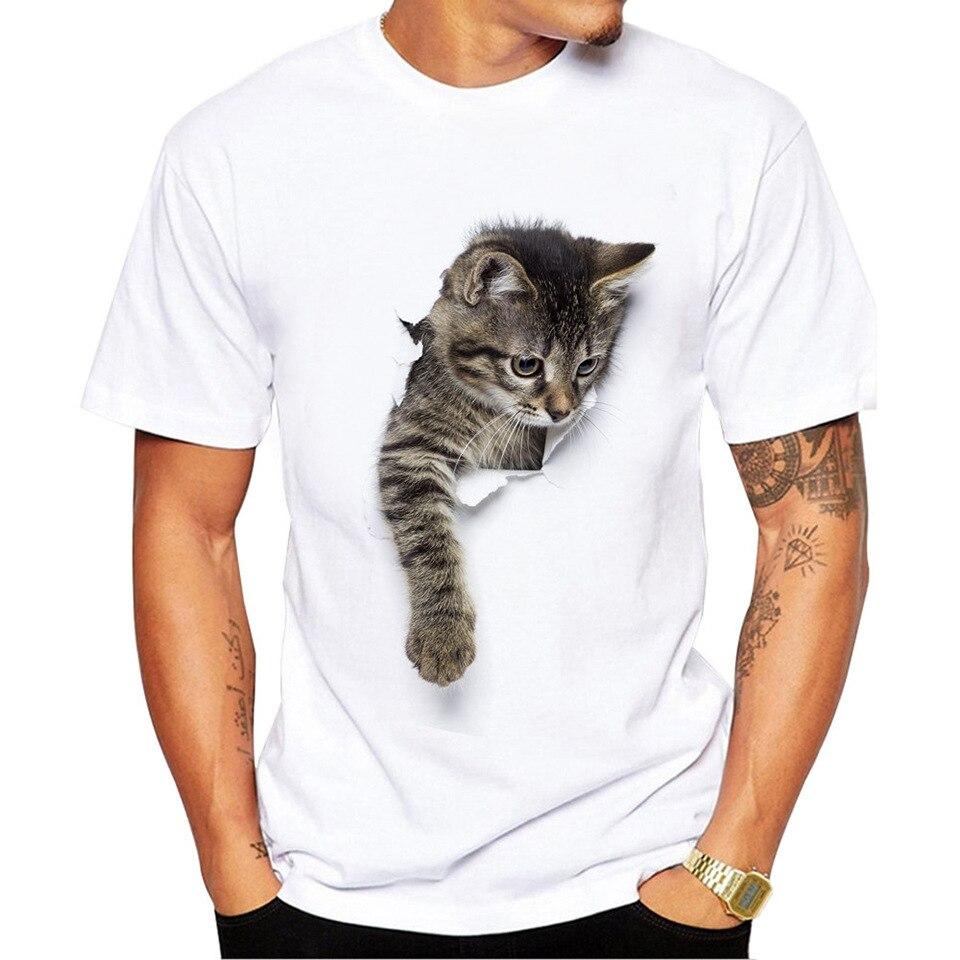 Men's Summer T Shirt White Cat Print Short Sleeve O Neck Tops Tshirt Camiseta Masculina