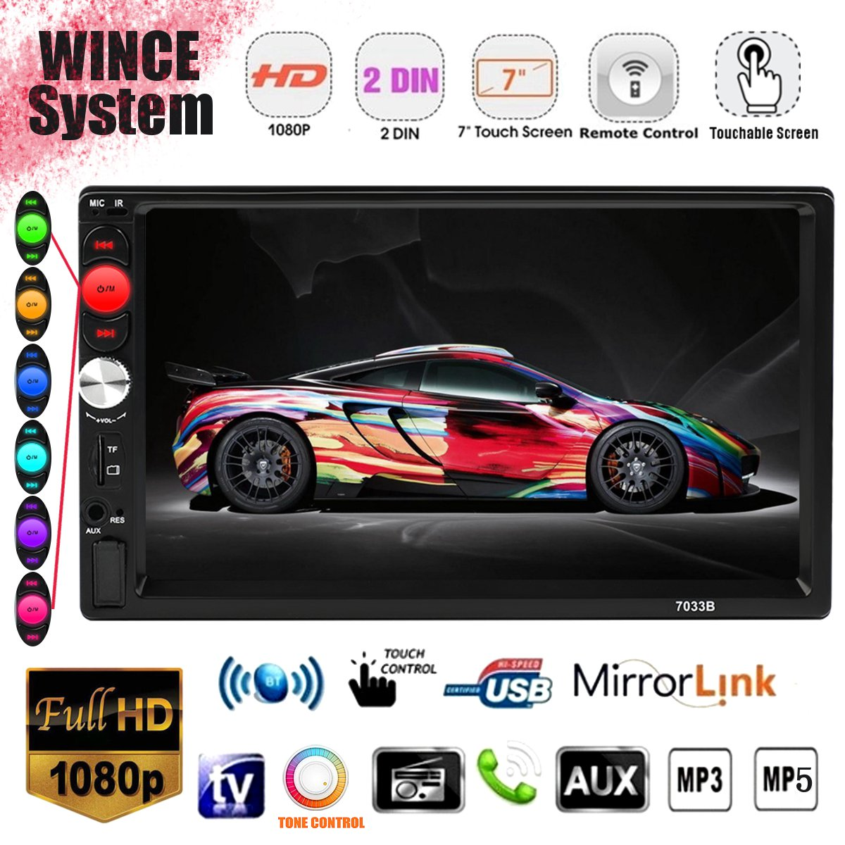 7 2 Din WINCE System Universal Car multimedia Player MP3 MP4 MP5 FM bluetooth Stereo Raido Video Audio Player7 2 Din WINCE System Universal Car multimedia Player MP3 MP4 MP5 FM bluetooth Stereo Raido Video Audio Player