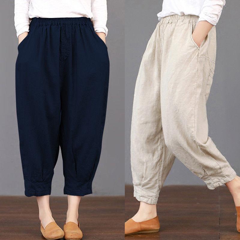 2019 Summer Women Pockets Solid Loose Trousers Elastic Waist Harem   Pants   Casual Cargo Baggy Cotton Linen Pantalon Plus Size