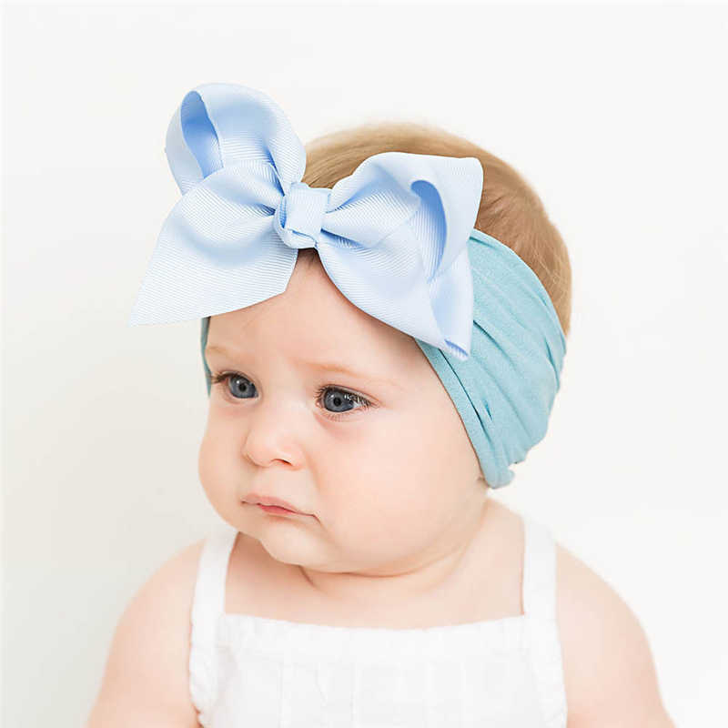 18 צבעים רך תינוק בנות גדול קשת גומייה לשיער סרט נסיכת למתוח טורבן גדול קשר ראש לעטוף אופנה סרט אלסטי