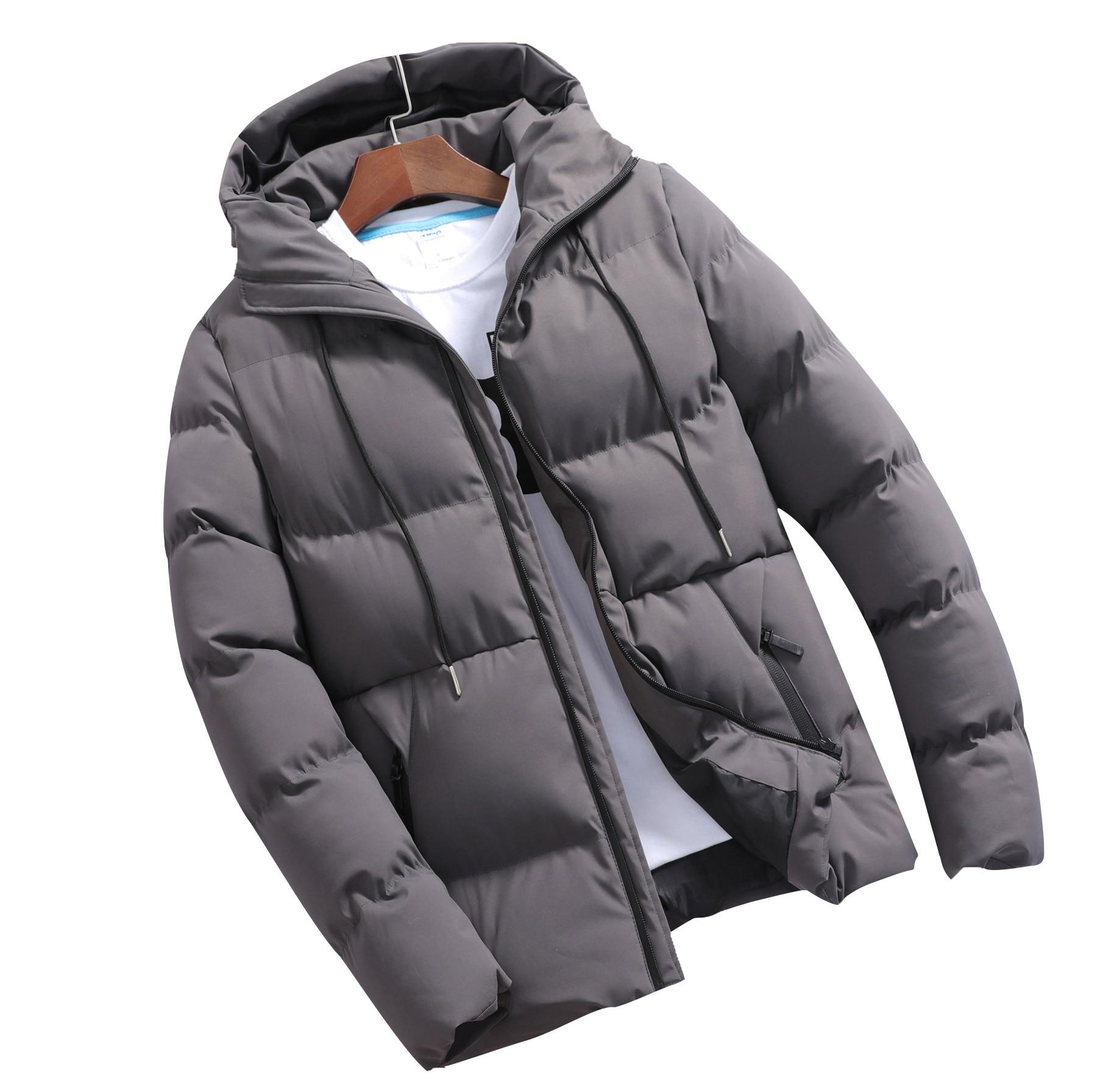 Thick Cotton   Parkas   Men Solid Short Hooded Wave Slim Fit Zipper Design Winter Mens Jacket Veste Homme Hiver Manteau Hombre