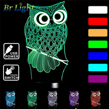 цена 2019 NEW 3D Lamp owl Touch control Xmas Gift LED Table NIGHT LIGHT Multicolor Cartoon Toy Luminaria 7 Color Change lifesmart D30 онлайн в 2017 году